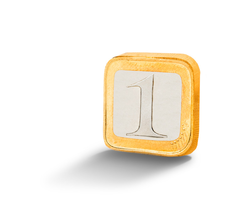A square-shaped coin